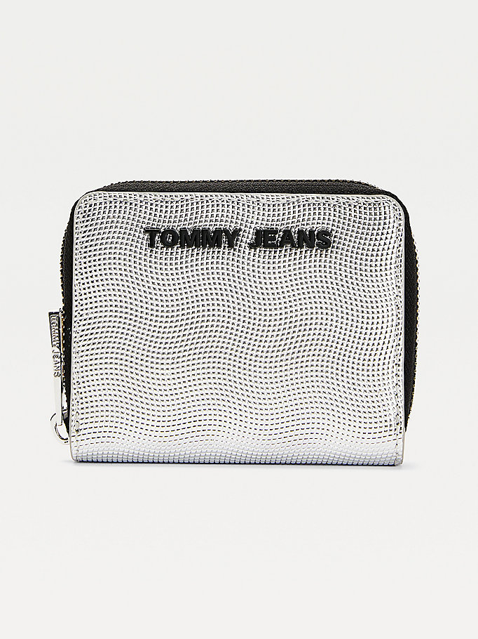 grey essential metallic small zip-around wallet for women tommy jeans