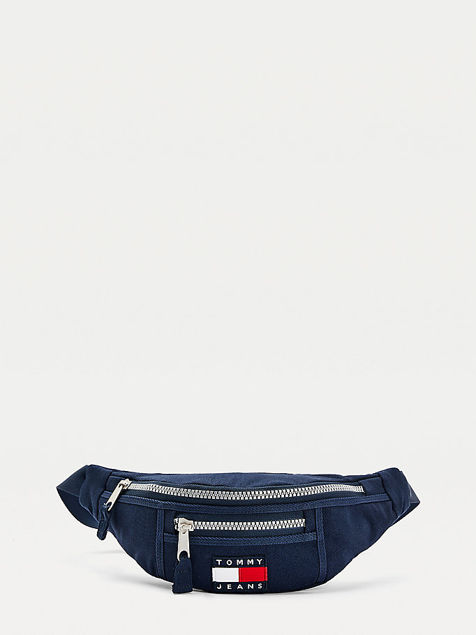 blue recycled cotton canvas bum bag for women tommy jeans