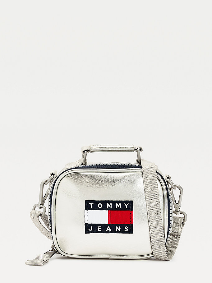 grey metallic zipped nano bag for women tommy jeans