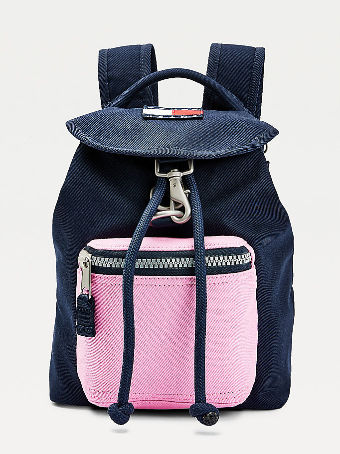 pink cotton canvas backpack for women tommy jeans