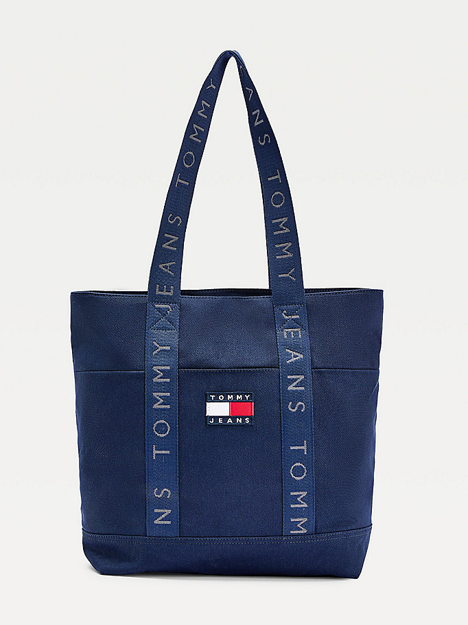 blue cotton canvas tote bag for women tommy jeans