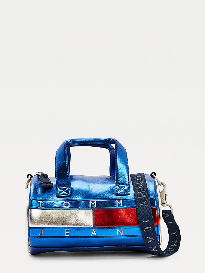 blue metallic small duffle bag for women tommy jeans