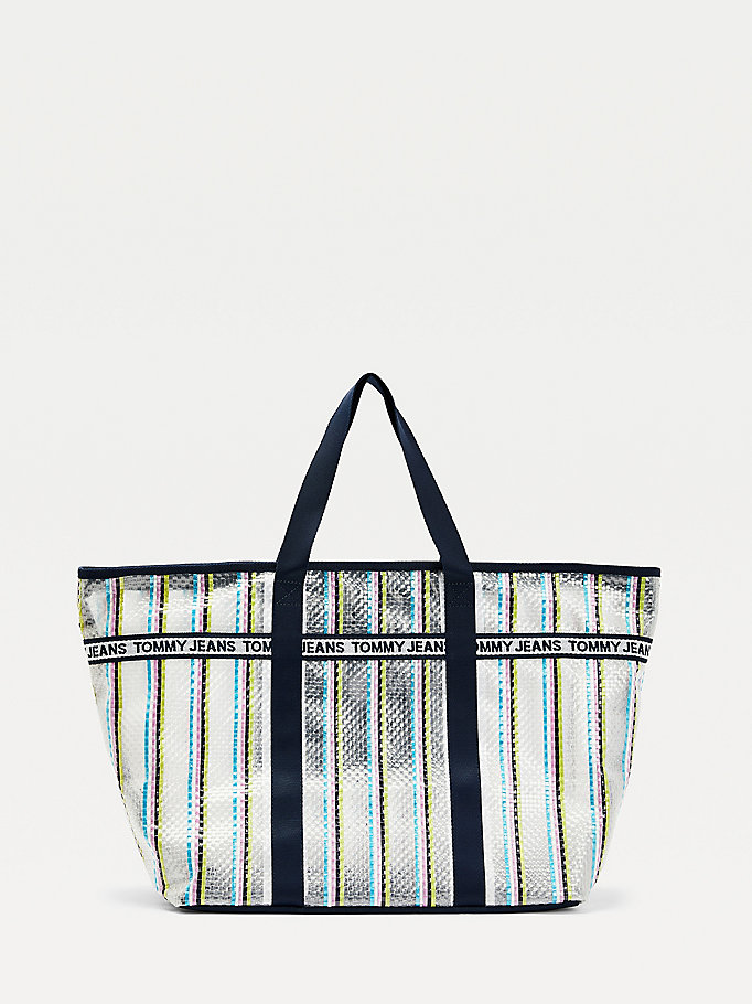 pink logo tape woven tote bag for women tommy jeans