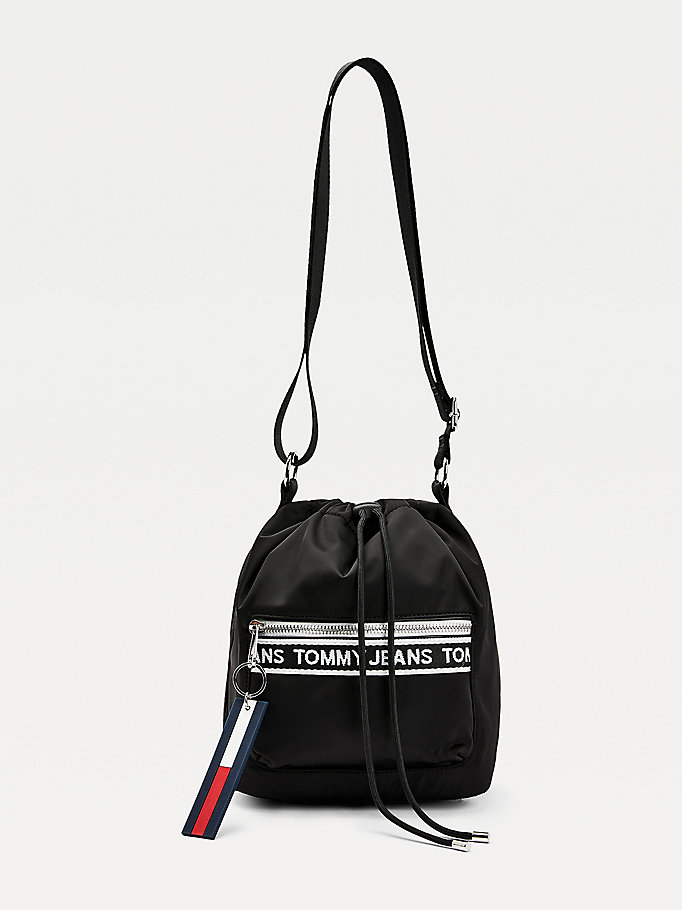 black logo tape drawstring bucket bag for women tommy jeans