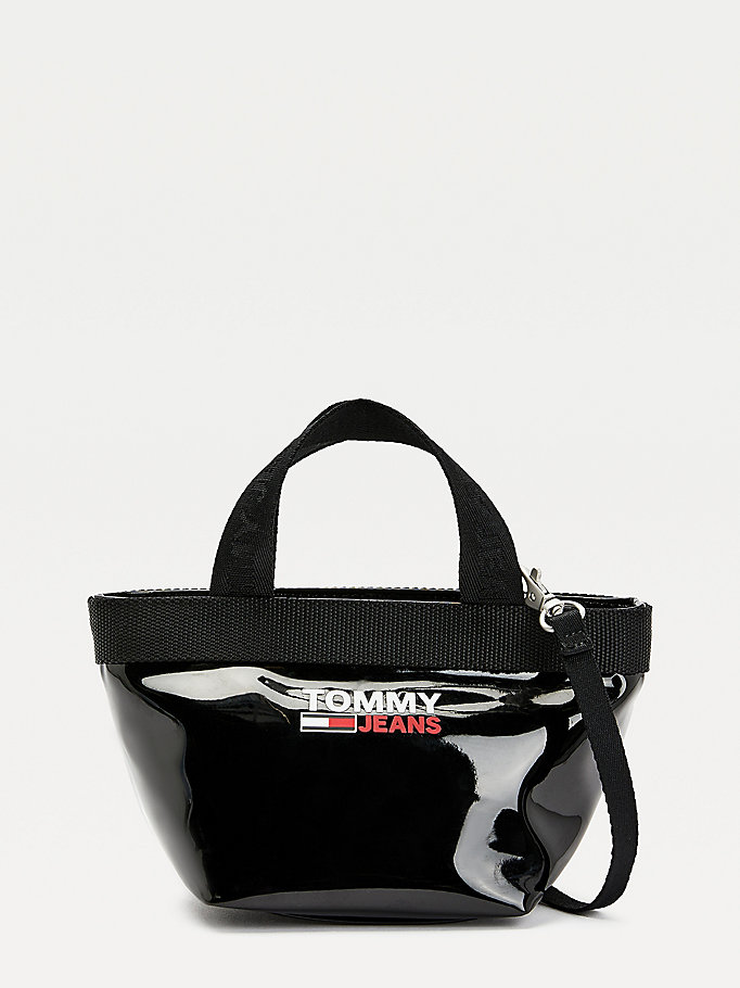 black campus small high-shine tote bag for women tommy jeans