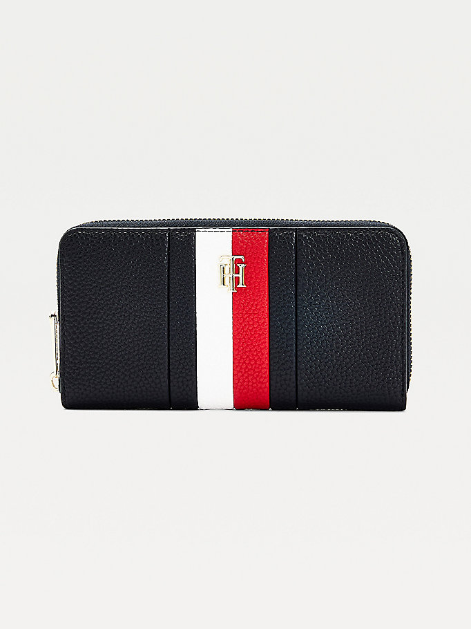 blue th essence large zip-around wallet for women tommy hilfiger
