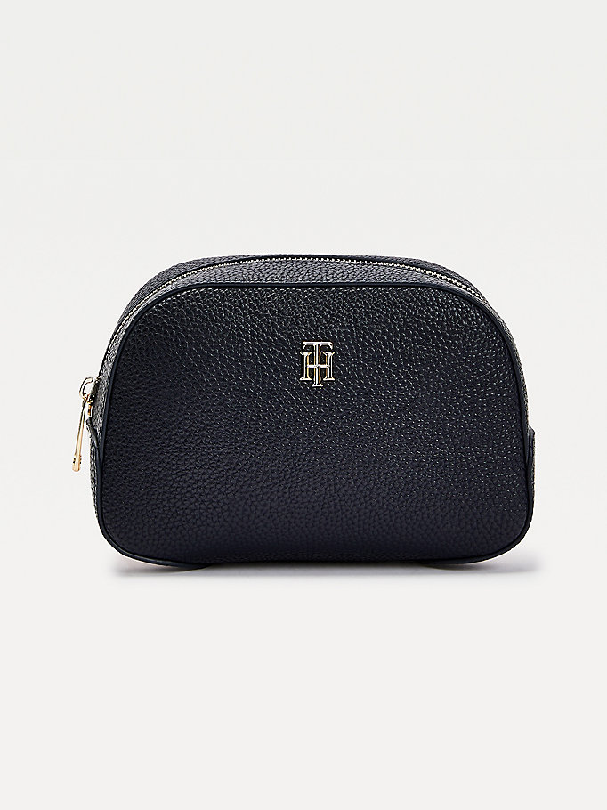 blue th essence monogram washbag for women tommy hilfiger