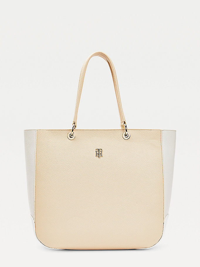 beige th essence tote-bag in color block für damen - tommy hilfiger