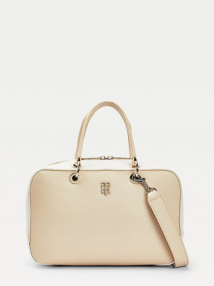 beige th essence monogram tonal duffle bag for women tommy hilfiger