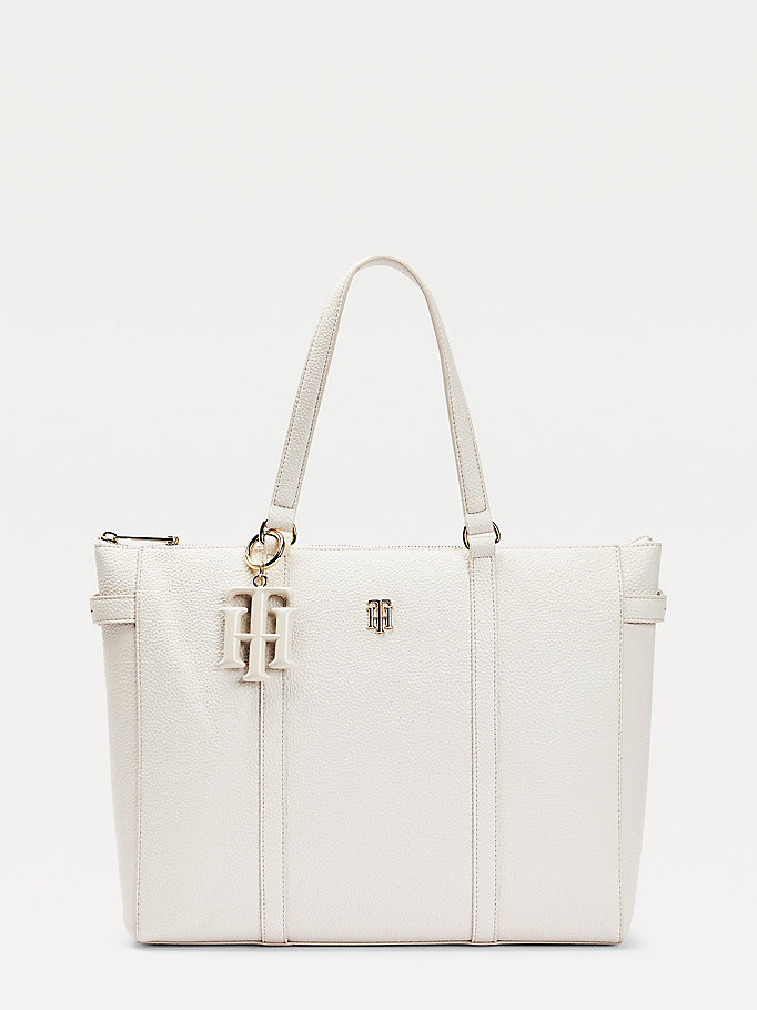 beige monogram charm tote for women tommy hilfiger