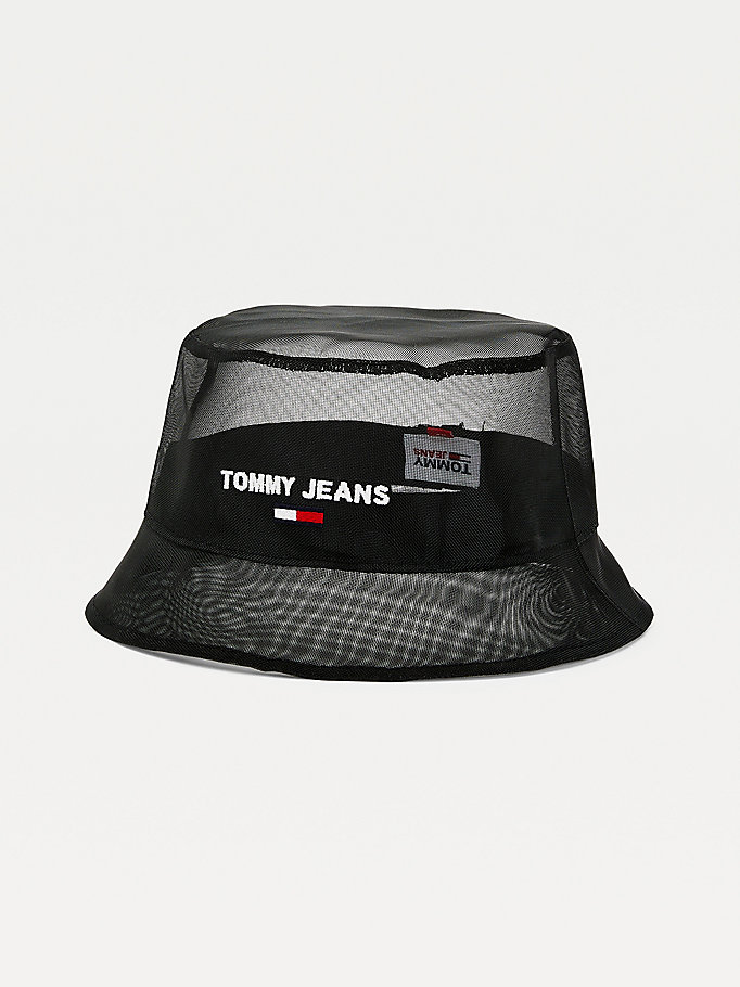 black logo embroidery mesh bucket hat for women tommy jeans