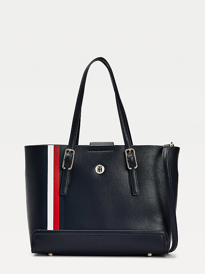 blue medium monogram signature tote bag for women tommy hilfiger