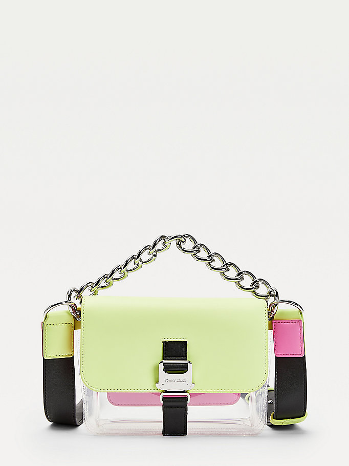 green chunky chain strap transparent crossover bag for women tommy jeans