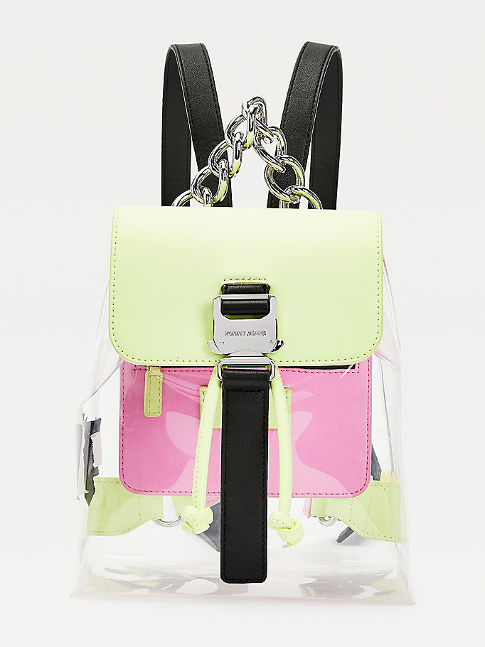 green chunky chain strap transparent backpack for women tommy jeans