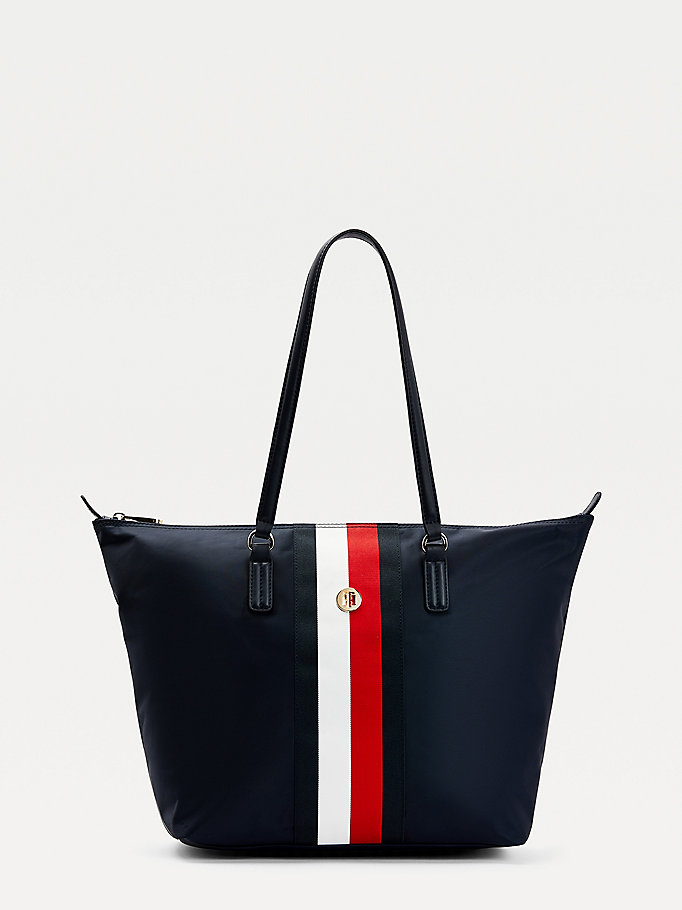 blue monogram plaque recycled nylon tote bag for women tommy hilfiger