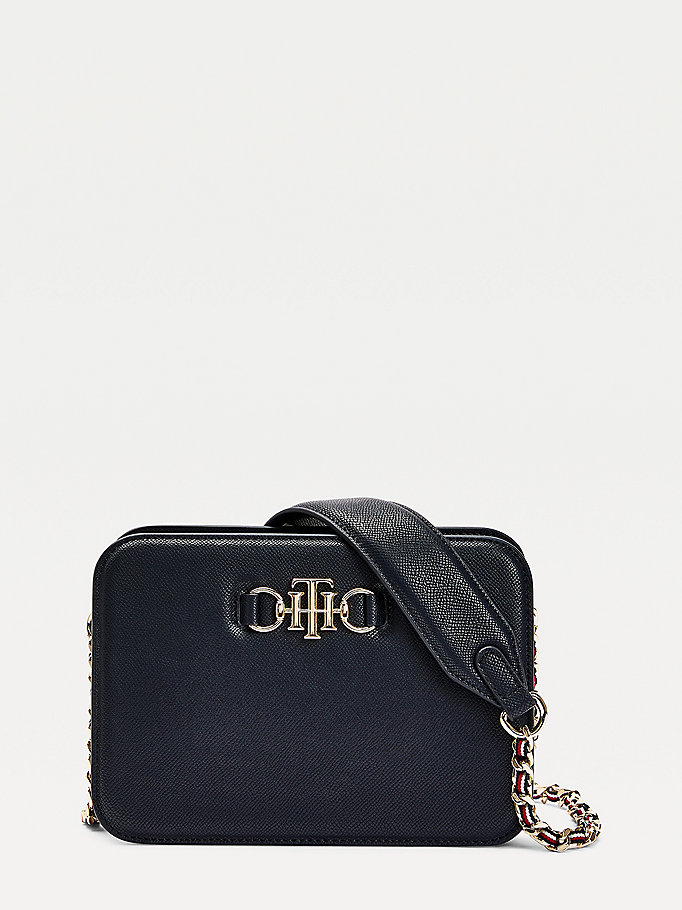 blue monogram crossover bag for women tommy hilfiger