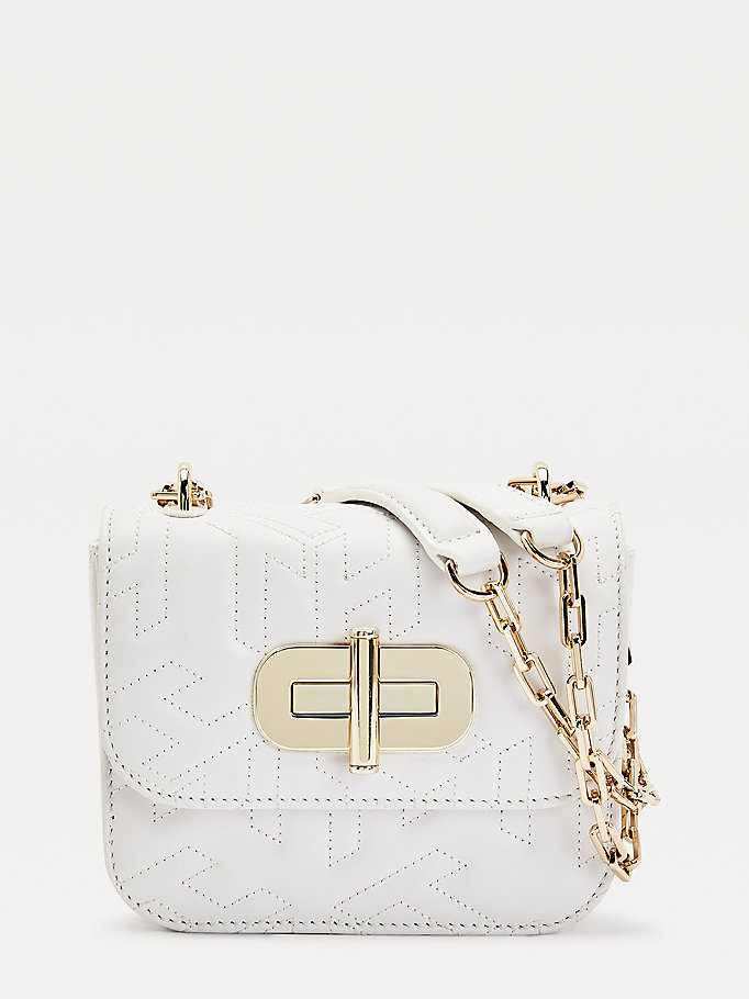 white turnlock monogram leather crossover bag for women tommy hilfiger