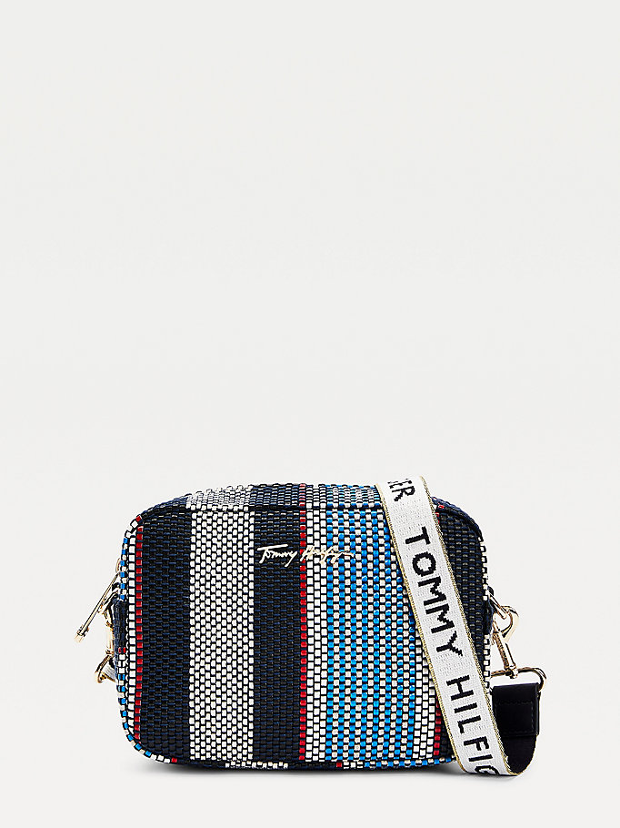 blue iconic woven stripe camera bag for women tommy hilfiger