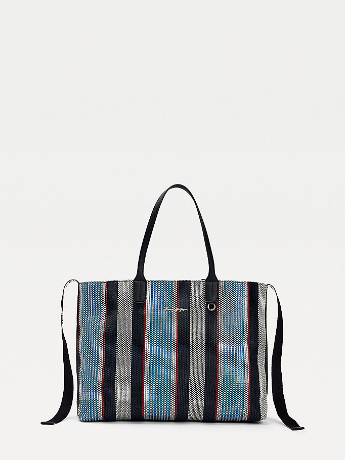 blue iconic woven stripe tote bag for women tommy hilfiger