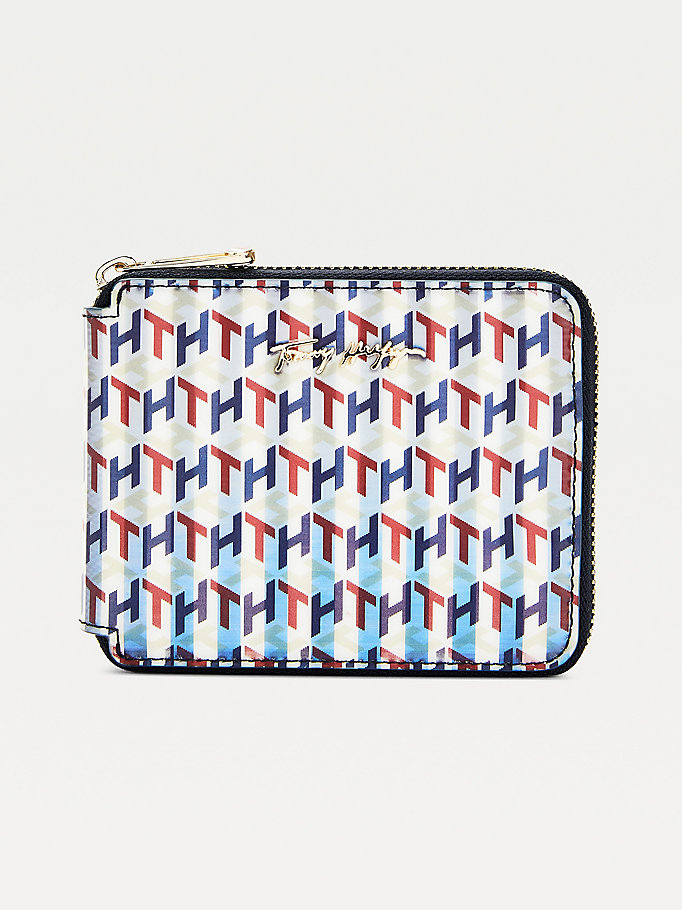 blue iconic holographic monogram zip-around wallet for women tommy hilfiger