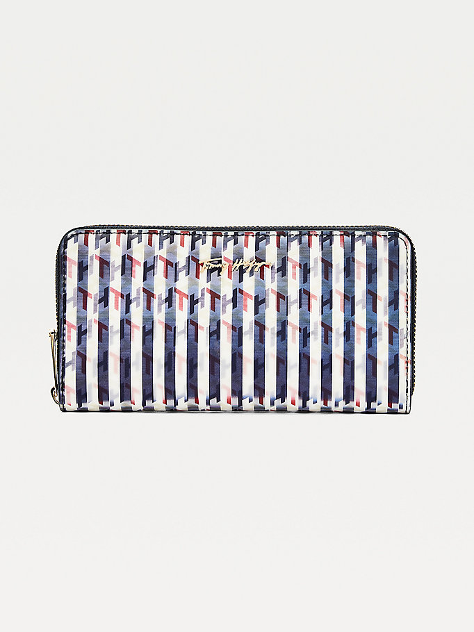 blue iconic holographic monogram large wallet for women tommy hilfiger