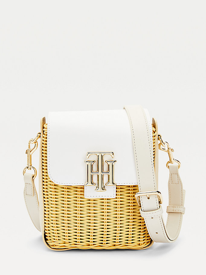 beige monogram woven small bucket bag for women tommy hilfiger