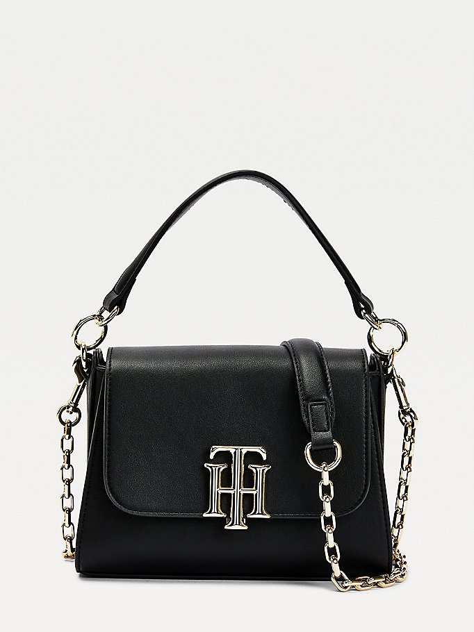black small monogram lock satchel for women tommy hilfiger