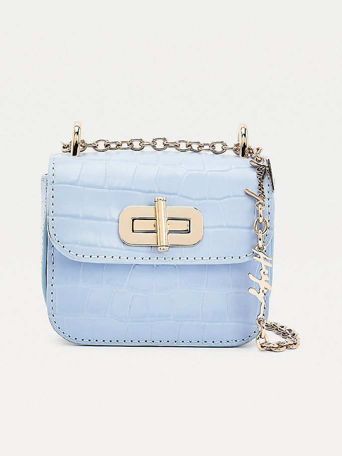 borsa turnlock mini effetto coccodrillo blu da donna tommy hilfiger