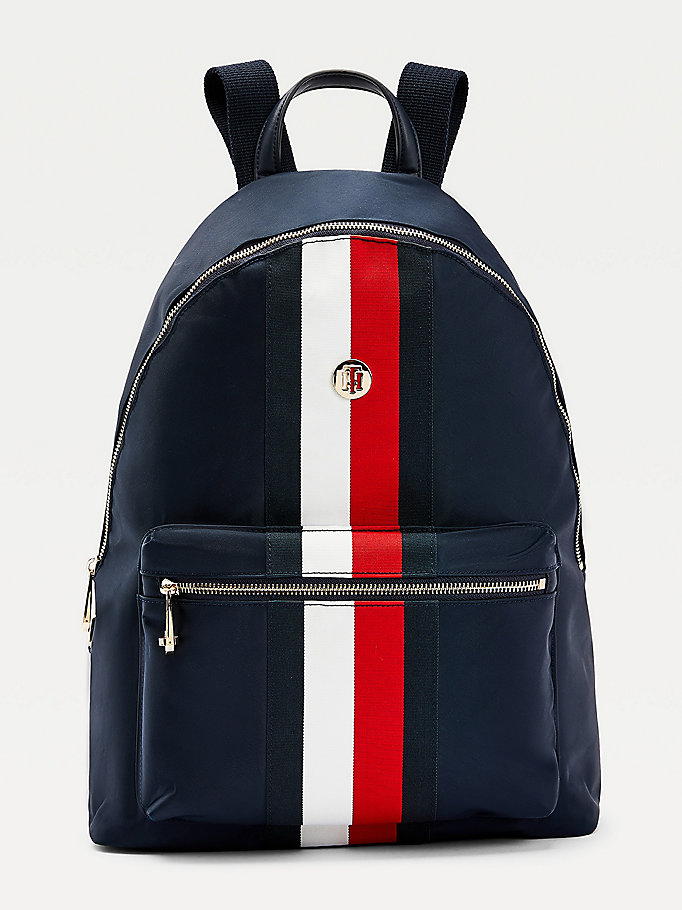 blue recycled nylon signature backpack for women tommy hilfiger