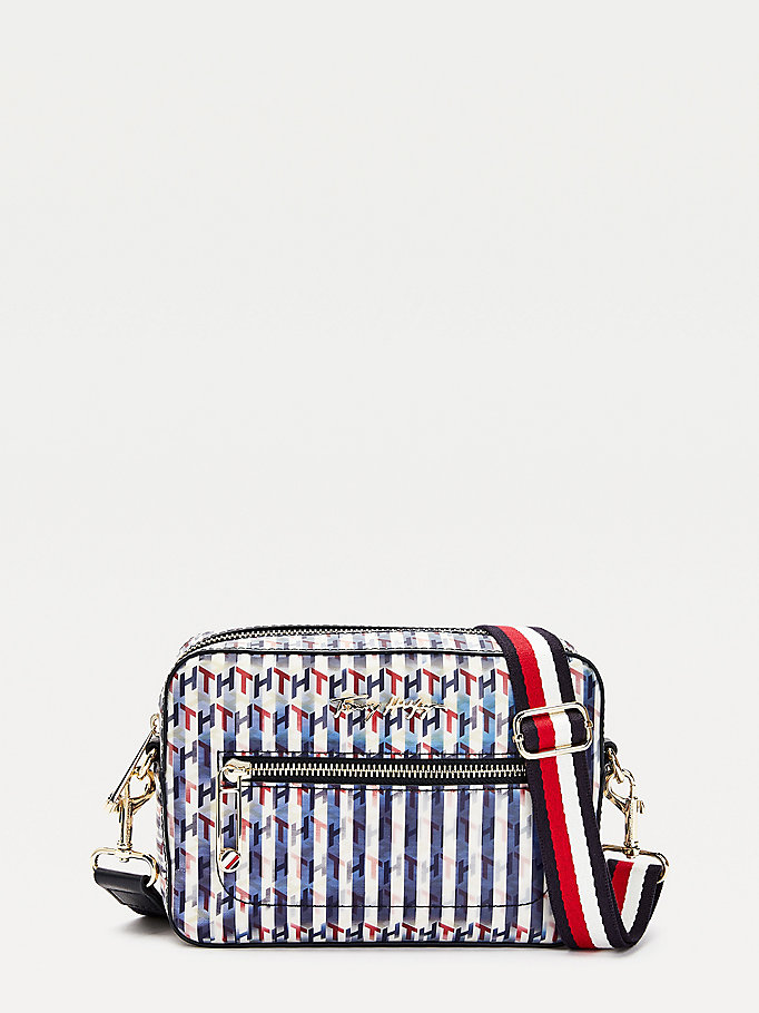 blue iconic holographic monogram camera bag for women tommy hilfiger