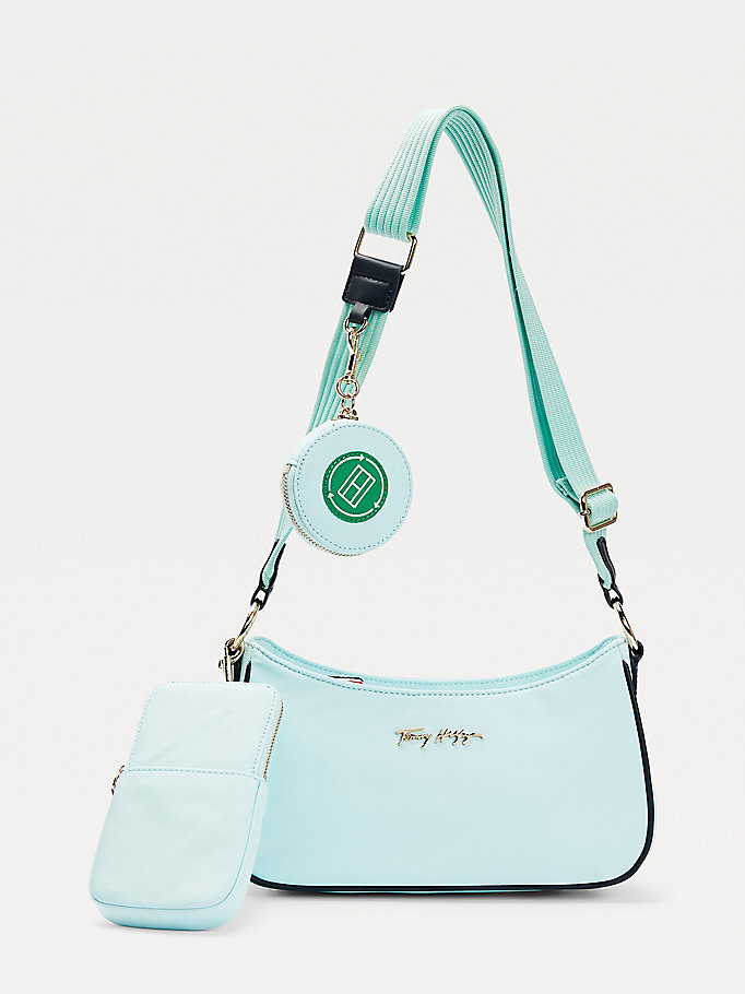 green neon tommy recycled polyester crossover bag for women tommy hilfiger