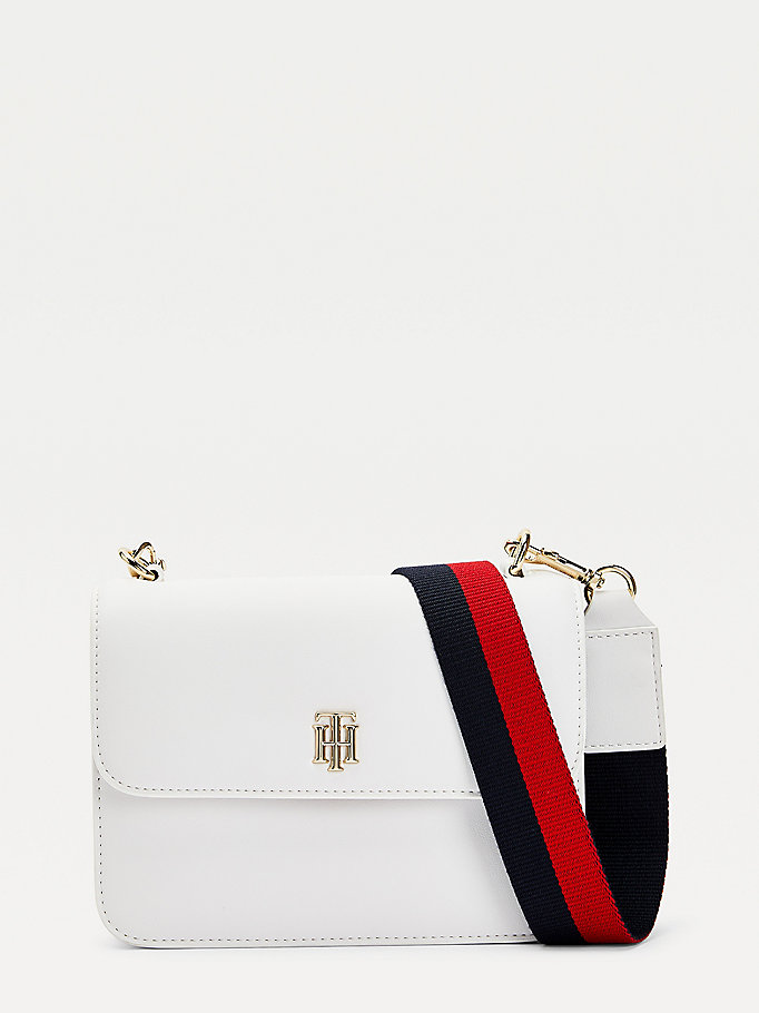 borsa a tracolla th staple verniciata bianco da women tommy hilfiger