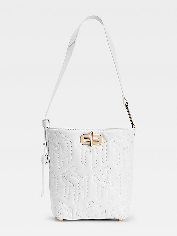 white turnlock small leather bucket bag for women tommy hilfiger