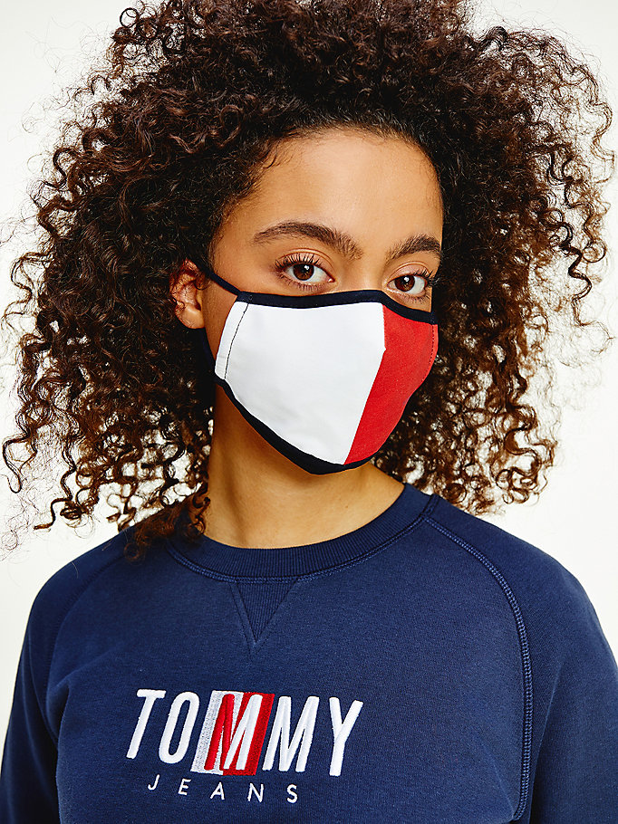 blue big flag cotton face cover for women tommy jeans