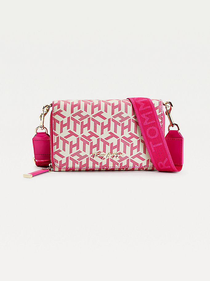 pink iconic monogram crossover bag for women tommy hilfiger
