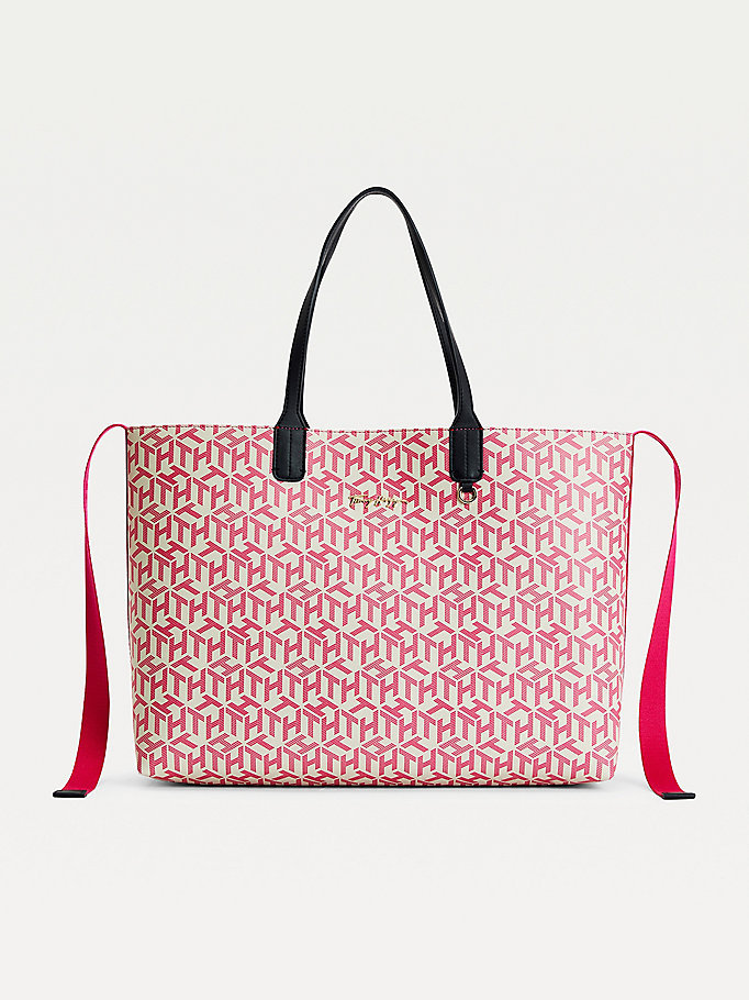 pink iconic monogram tote for women tommy hilfiger