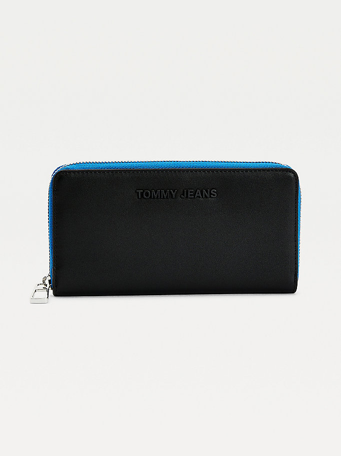 black essential large zip-around wallet for women tommy jeans