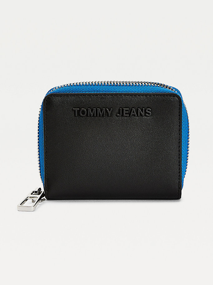 black essential zip-around wallet for women tommy jeans
