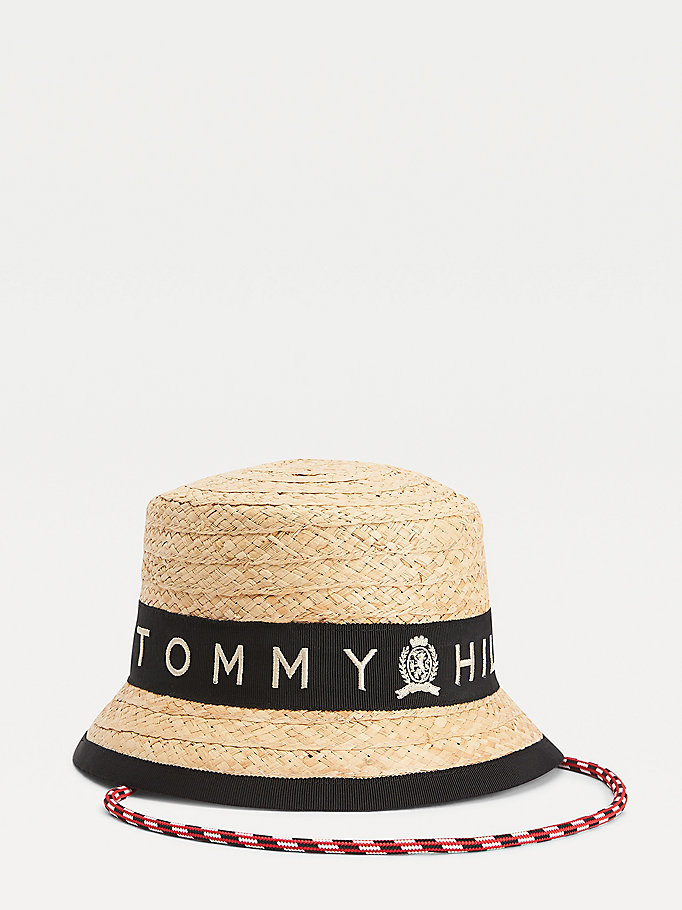 beige raffia crest bucket hat for women tommy hilfiger