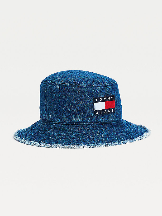 blue tommy badge distressed denim bucket hat for women tommy jeans