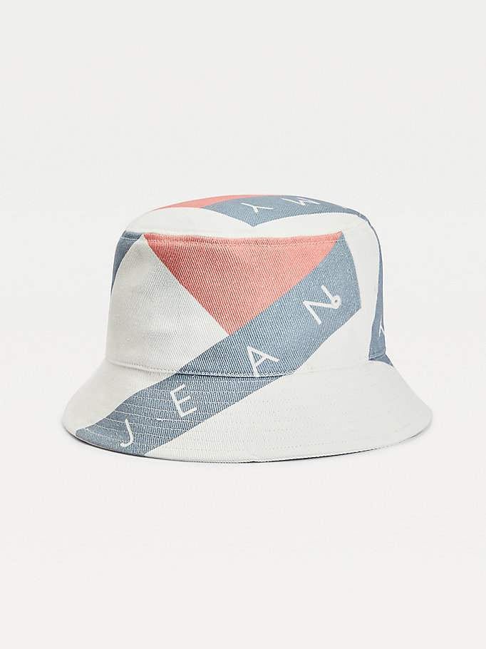 white logo print bucket hat for women tommy jeans
