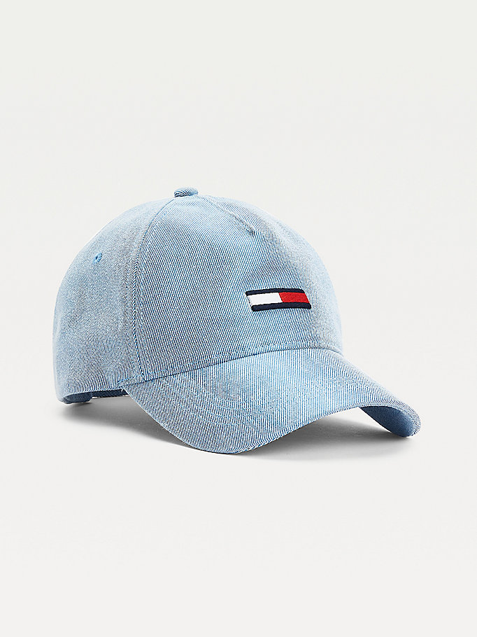 blau baseball-cap aus washed denim für damen - tommy jeans