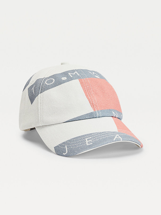 white logo print organic cotton baseball cap for women tommy jeans