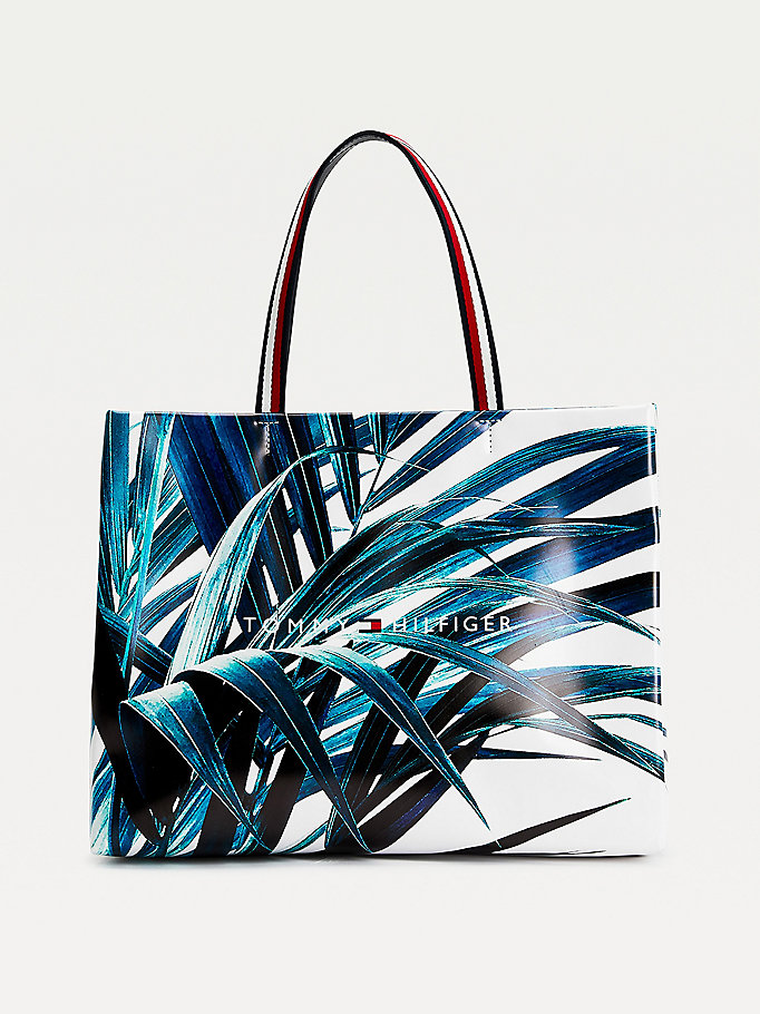 white palm print shopper tote for women tommy hilfiger