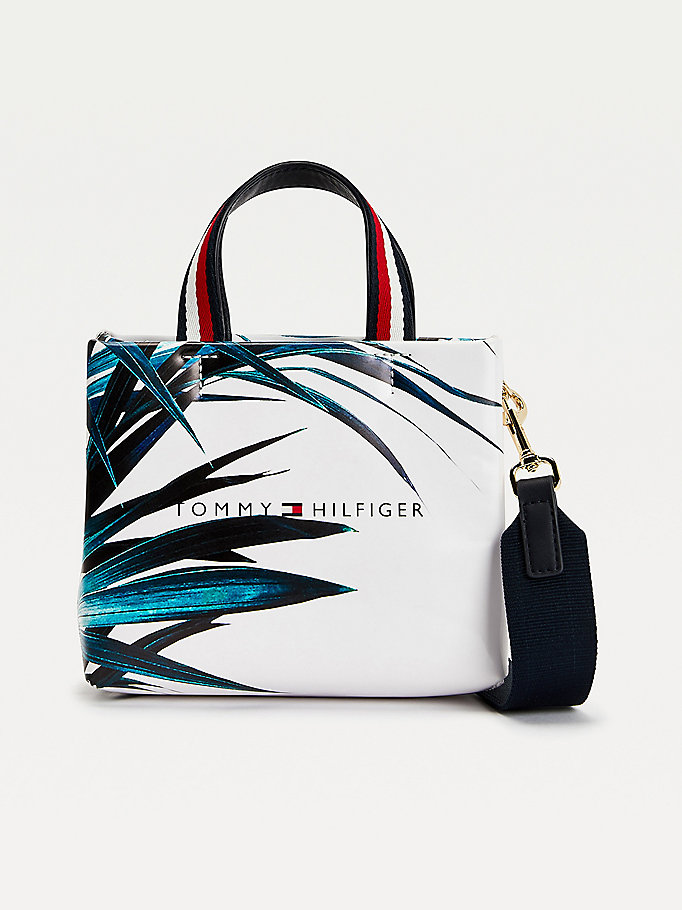 white palm print crossover shopper for women tommy hilfiger