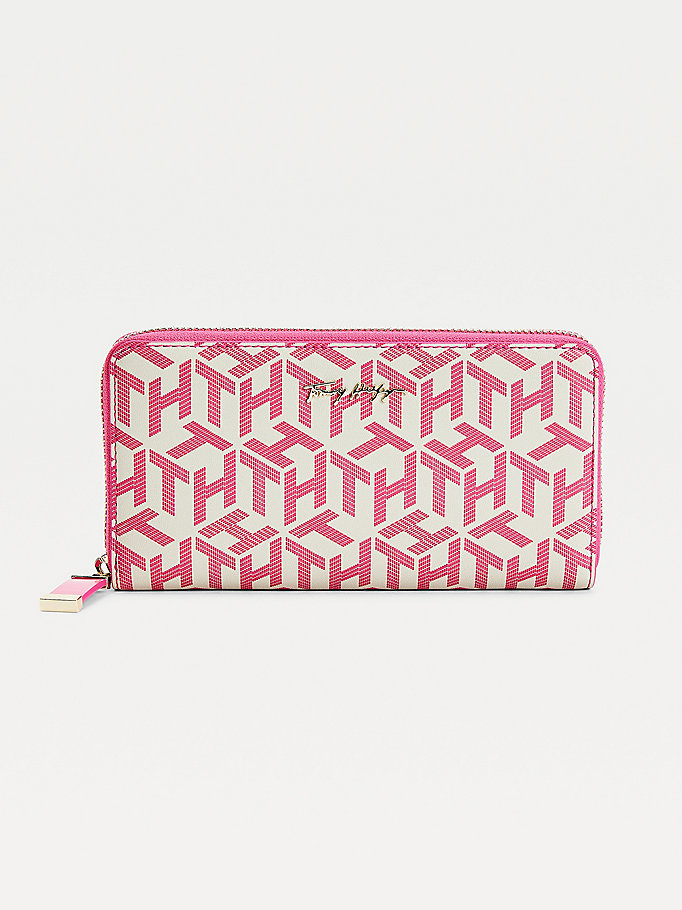 pink iconic large monogram wallet for women tommy hilfiger