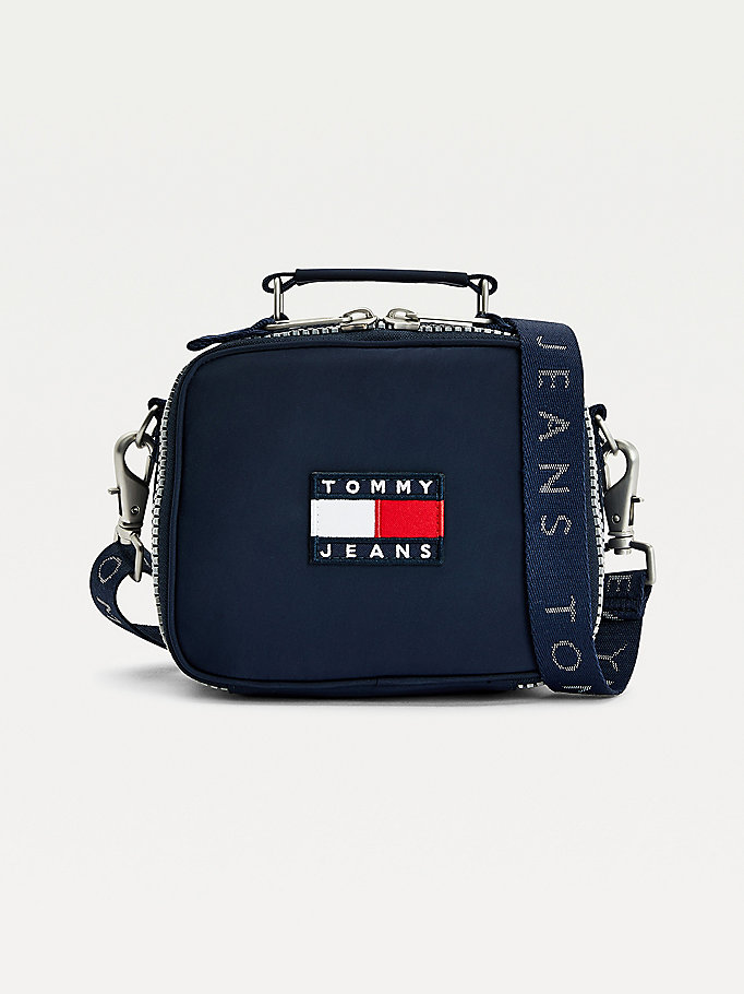 blue tommy badge zip-around crossover bag for women tommy jeans