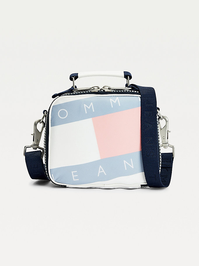 white flag print zip-around crossover bag for women tommy jeans