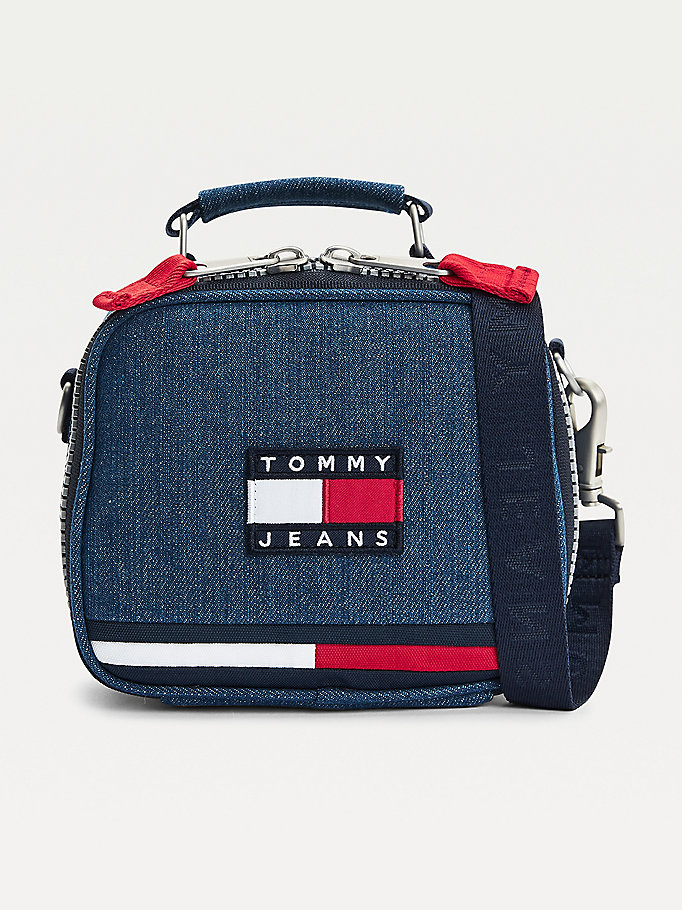 blue tommy badge denim crossover bag for women tommy jeans