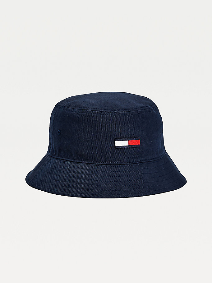 blue organic cotton bucket hat for women tommy jeans